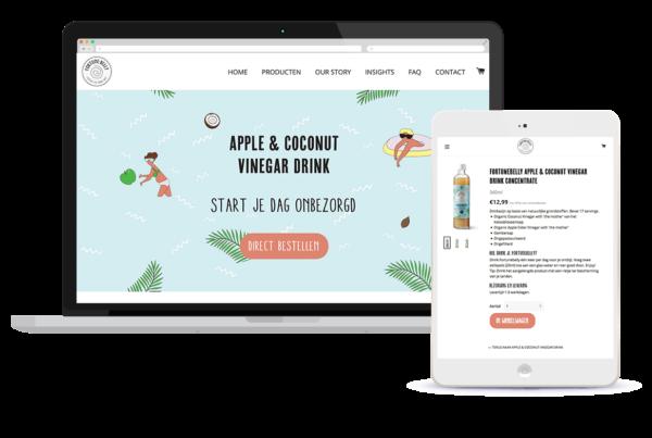 Webshop Shopify thema op maat laten maken. Voorbeeld: FortuneBelly.com